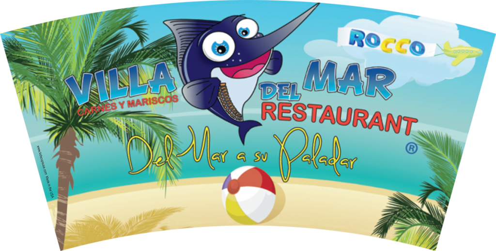 12 oz Villa del Mar souvenir kids' cup artwork.