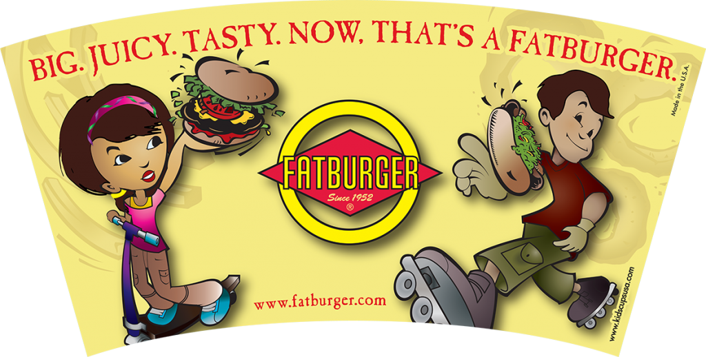 12 oz. Fatburger 12oz souvenir kids' cup artwork.
