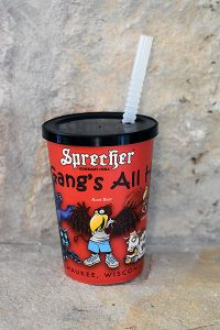12 oz. Sprecher Brewing souvenir kids' cup with straw for brewery tour handout.