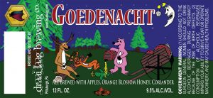 12 oz Goedenacht beer label from Pittsburgh, PA.