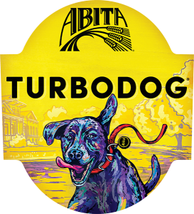 Abita Turbodog tap handle domed decal.