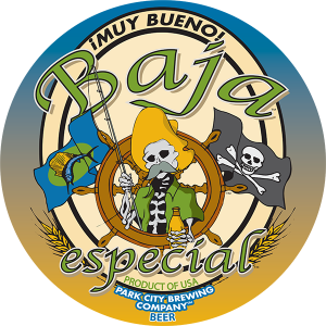 Baja Park City Brewing Company promotional label.