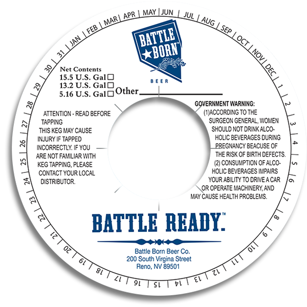 Battle Born beer Co. Reno NV Battle Ready keg ring.