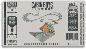 Cabin Boys Brewery beer bottle label.