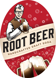 BJ Root Beer 2.3 x 3.3 oval tap handles decal.