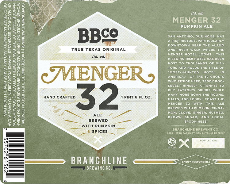 Branchline Brewing Co. San Antonio Menger 32 Ale beer can label.