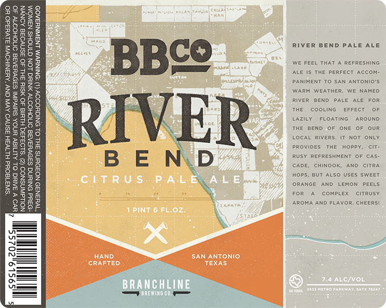Branchline Brewing Co. San Antonio Texas River Bend Citrus Pale Ale beer label.