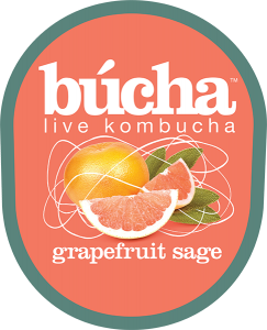 Bucha live kombucha grapefruit sage tap handle decal.