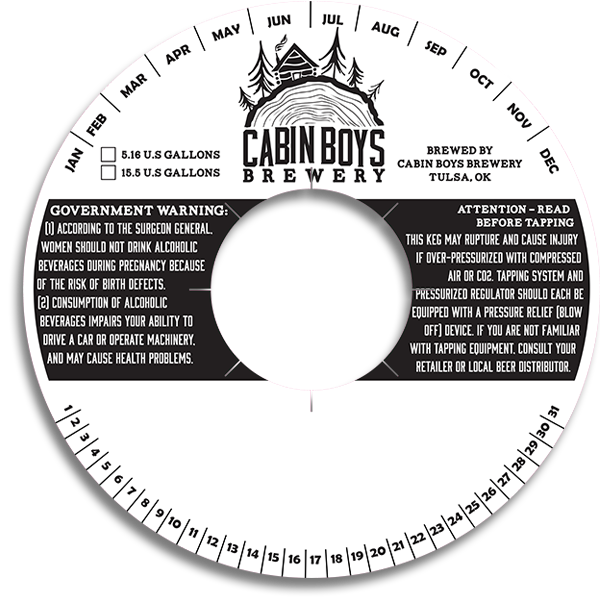 Cabin Boys Brewery Tulsa OK generic keg collar with write-in space as they keg.