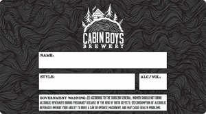 Cabin Boys Brewery write in beer label.
