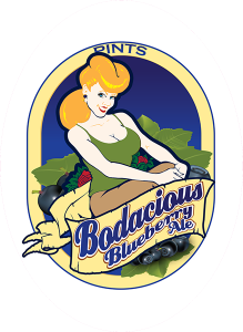 Colorado Belle Tap Decals: Bodacious Blueberry Ale.