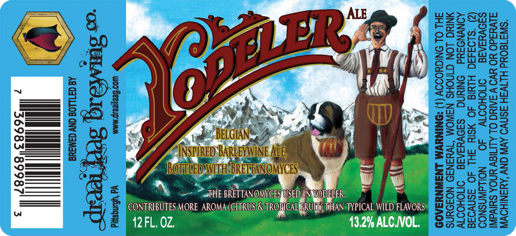 Draai Laag Pittsburgh PA Yodeler 12 oz. beer bottle labels.