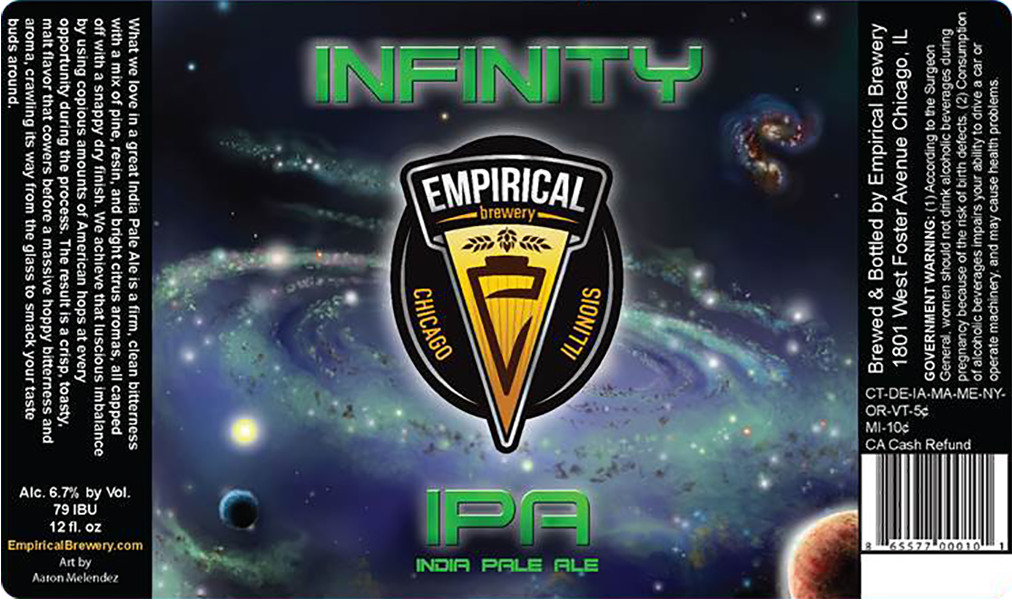 Empirical Brewery Infinity IPA beer label.