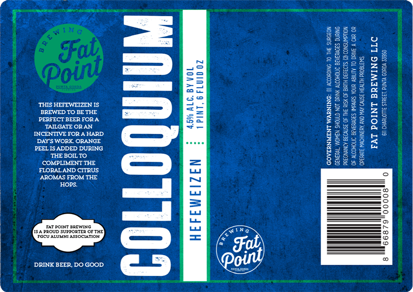 Fat Point Brewing Colloquium beer bottle label.