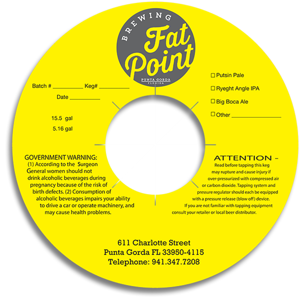 Fat Point Brewing Punta Gorda FL keg collar.
