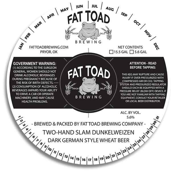 Fat Toad Brewing Pryor OK Keg Collar with center coaster cutout.