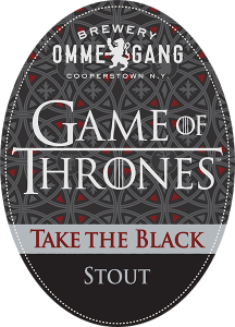Omme Gang Brewery: Game of Thrones Take the Black Stout tap handle decal.
