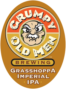Grumpy Old Men Brewing: Grasshoppa Imperial IPA tap handle decal.
