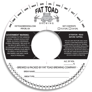 Fat Toad Brewing keg collar label.