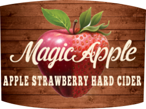 Tap handle magnet: Magic Apple apple strawberry hard cider.