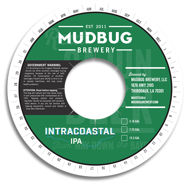 Mudbug Brewery Thibodaux LA Intracoastal IPA keg collar.