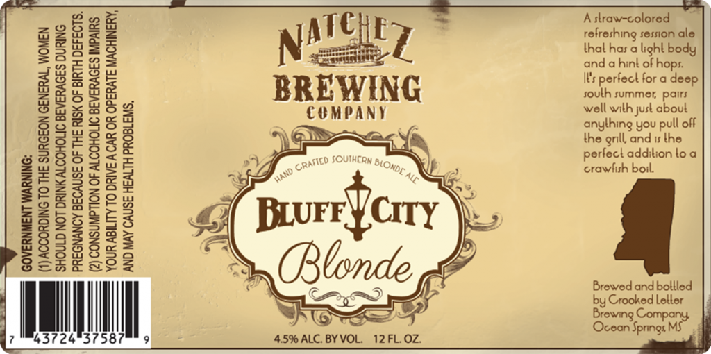 Natchez Brewing Co. Bluff City Blonde beer label.