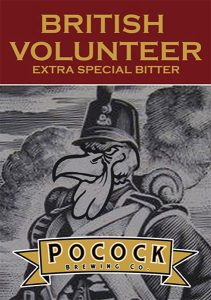 Pocock Brewing Company British Volunteer Bitter tap handle decal.