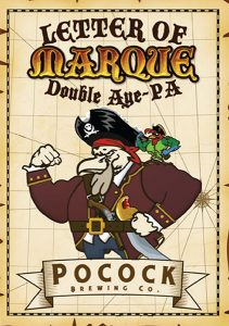 Pocock Brewing Co. Letter of Marque Double Aye PA tap handle decal.