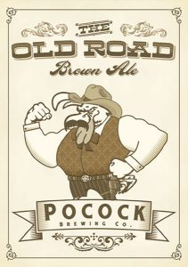Pocock Brewing Co. The Old Road Brown Ale tap handle decal.