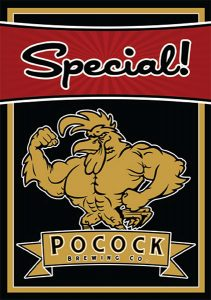 Pocock Brewing Co. Special tap handle decal.