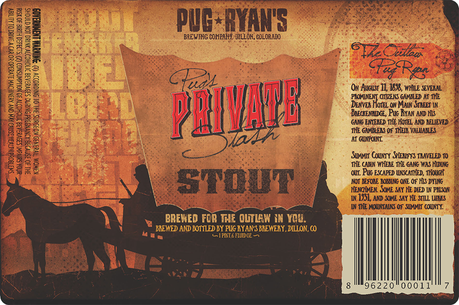 Pug Ryans Brewing Company: Pug's Private Stash Stout beer label.