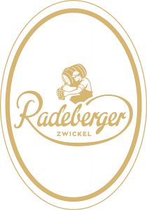 "Radeberger Zwickel 2.3"" x 3.3"" oval tap handle decal."