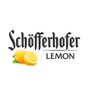 "Schofferhofer Lemon 3.25"" circle tap handle decal."