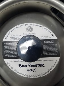 Stone Corral: Bad Rooster keg collar on a keg.