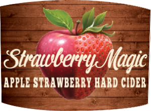 Tap handle magnet: Strawberry Magic Hard Cider.