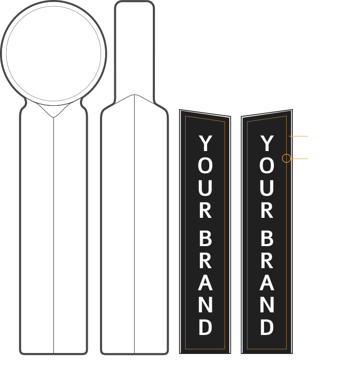 Tap handle decals sizing reference graphic.