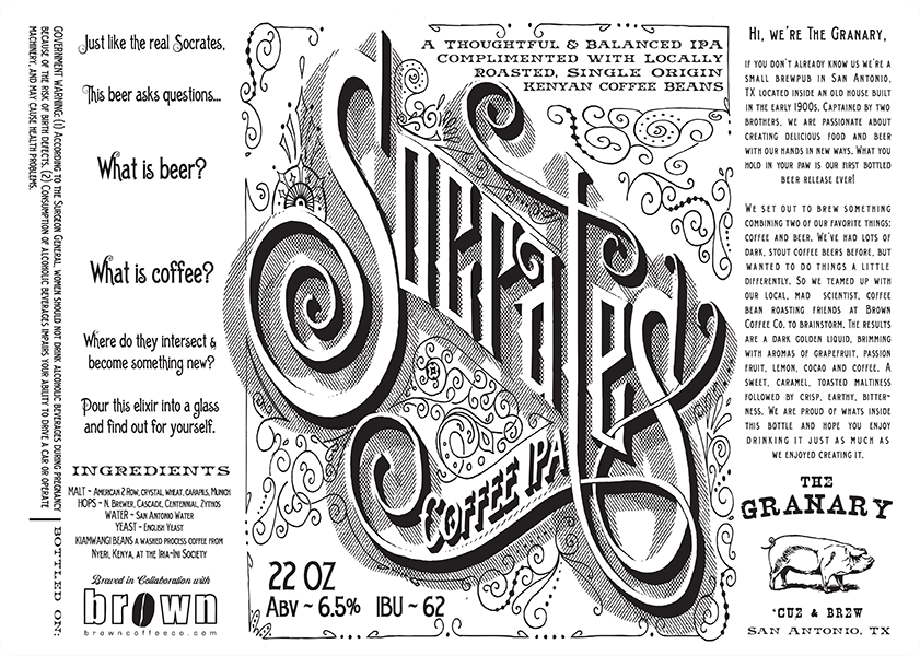 The Granary San Antonio Socrates Coffee IAP beer bottle labels.