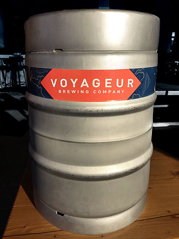 Voyageur Brewing Company keg wrap label picture.