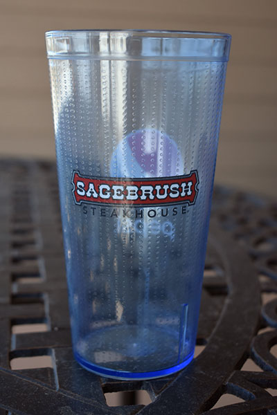 Sagebrush Steakhouse custom tumbler 16 oz. plastic cup.