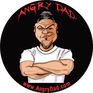 "Angry Dad 2.25"" circle keg cap decal."