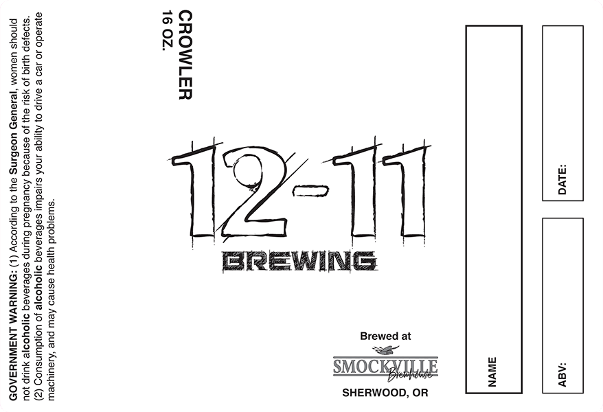 Smockville Brewhouse: 12-11 Brewing 16oz Crowler label.