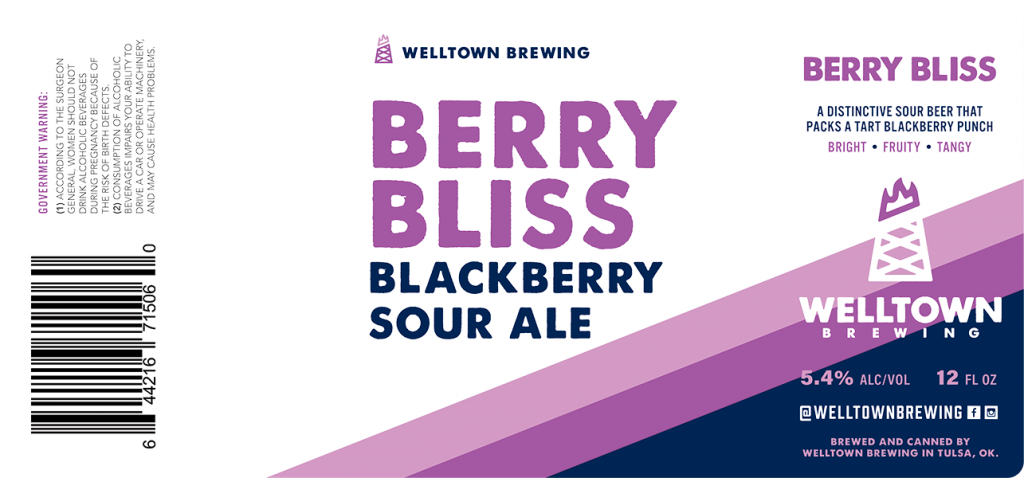 Welltown Brewing: Berry Bliss Blackberry Sour Ale clear beer can label.